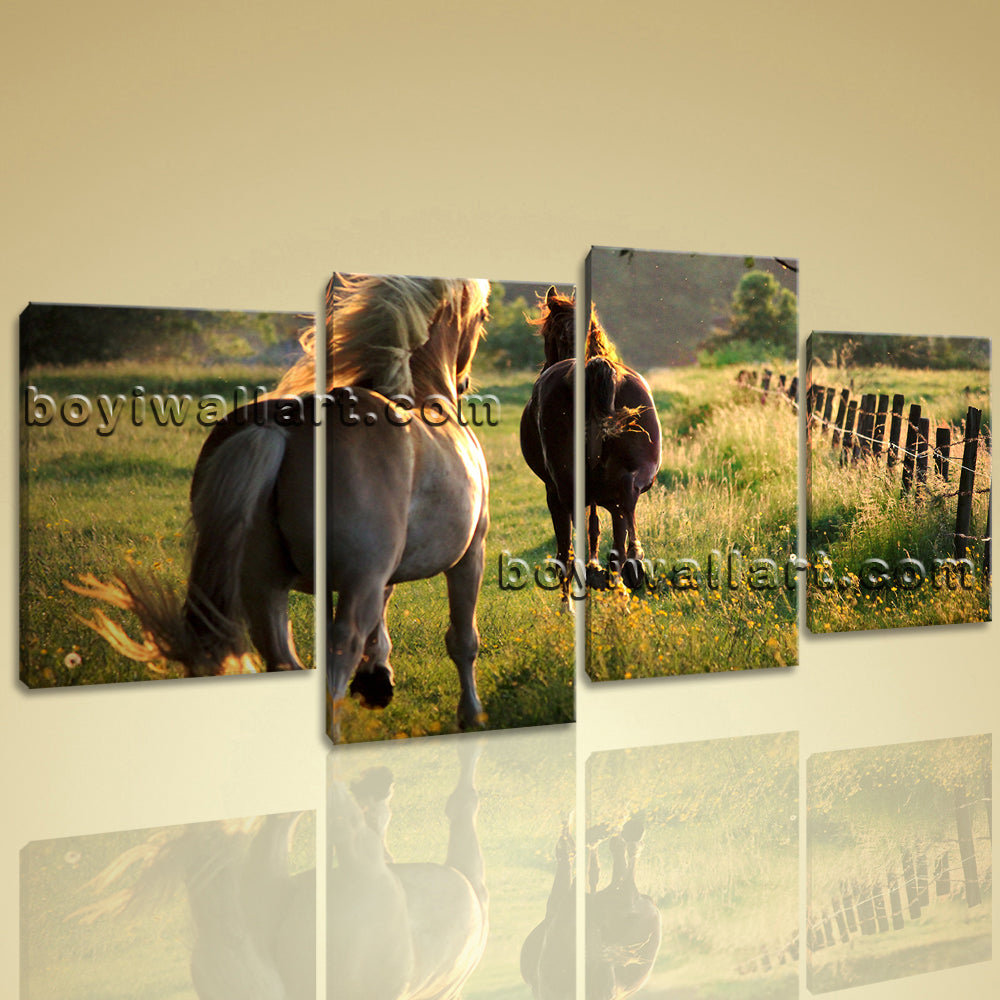 Large Contemporary Wall Art HD Print On Canvas Animal Horse ...