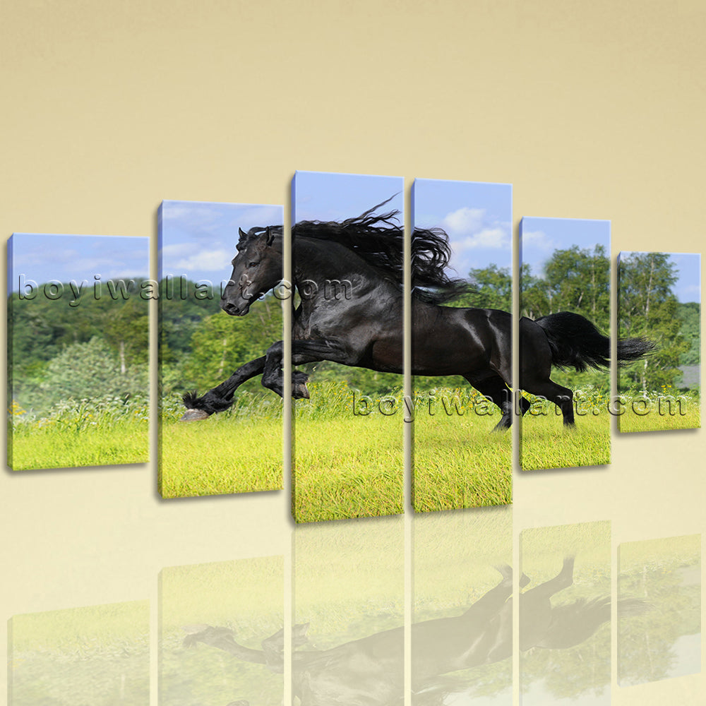 Extra Large Animal Wall Art Horse Painting Dining Room 6 Panels ...