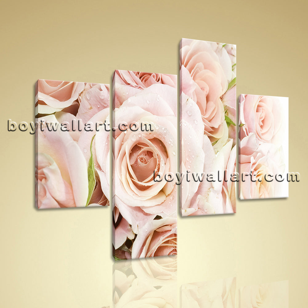 Large Floral Print Rose Flower Painting Canvas Art Living Room 4 Pieces