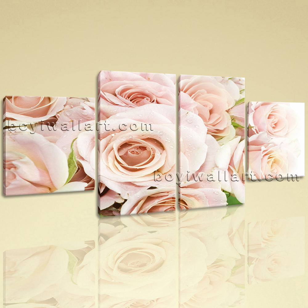 Large Floral Print Rose Flower Photography Art Painting Dining Room Four Panels