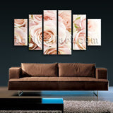 Large Floral Canvas Art Rose Flower Picture Dining Room Hexaptych Pieces print