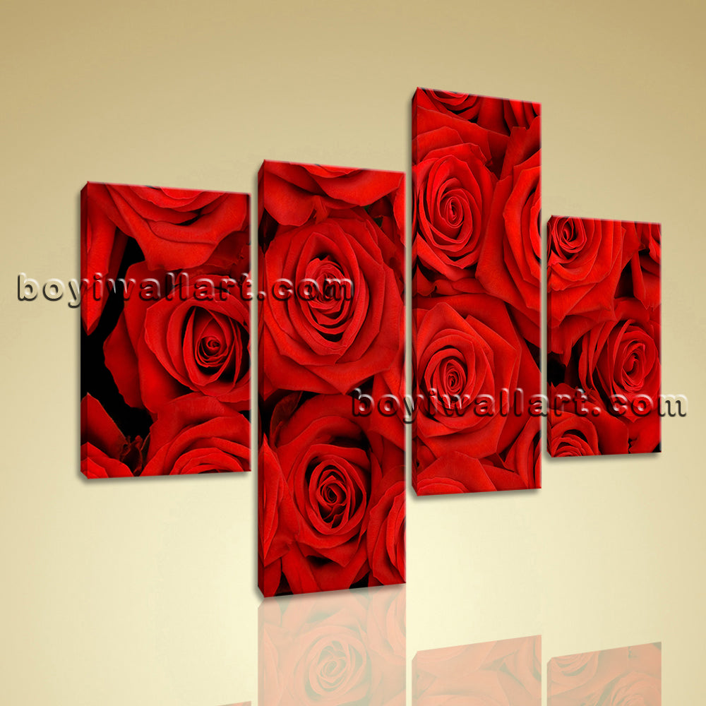 Large Floral Wall Art Rose Flower Painting Living Room Tetraptych Pieces Print