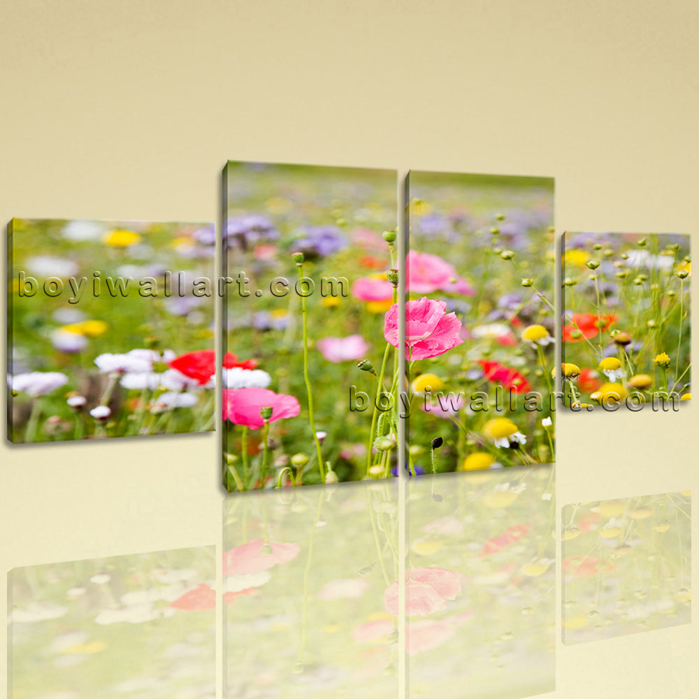 Large Floral Picture Poppy Flower Wall Art Decor Dining Room Four Pieces Print
