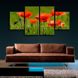 Large Floral Hd Print Poppy Flower Home Decor Dining Room 4 Pieces Giclee