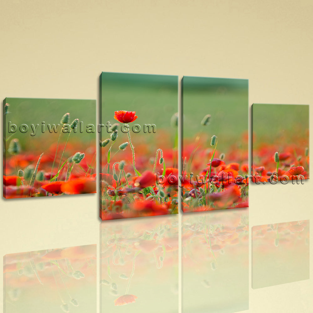 Large Floral Wall Art Poppy Flower Painting Dining Room Four Panels Canvas Print