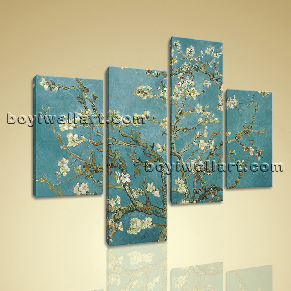 Large Floral Canvas Art Almond Blossom Print Impressionism Wall Four Panels