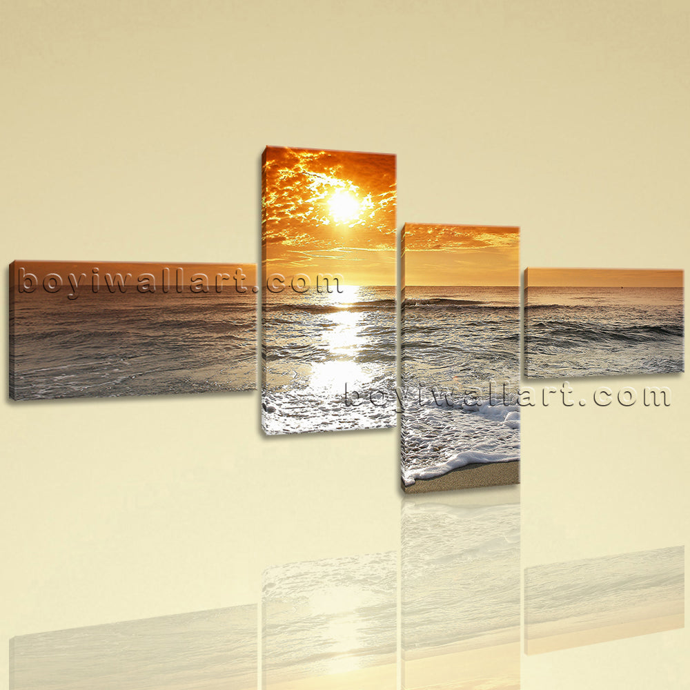 Large Contemporary HD On Canvas Wall Art Print Sunset Seascape ...