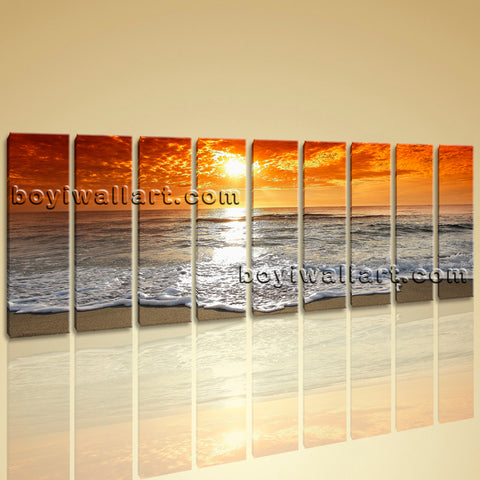 Large Contemporary HD Canvas Wall Art Print Sunset Seascape Living Room Decor
