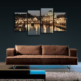 Large Cityscape Night Scene Contemporary Home Wall Art Print on Canvas