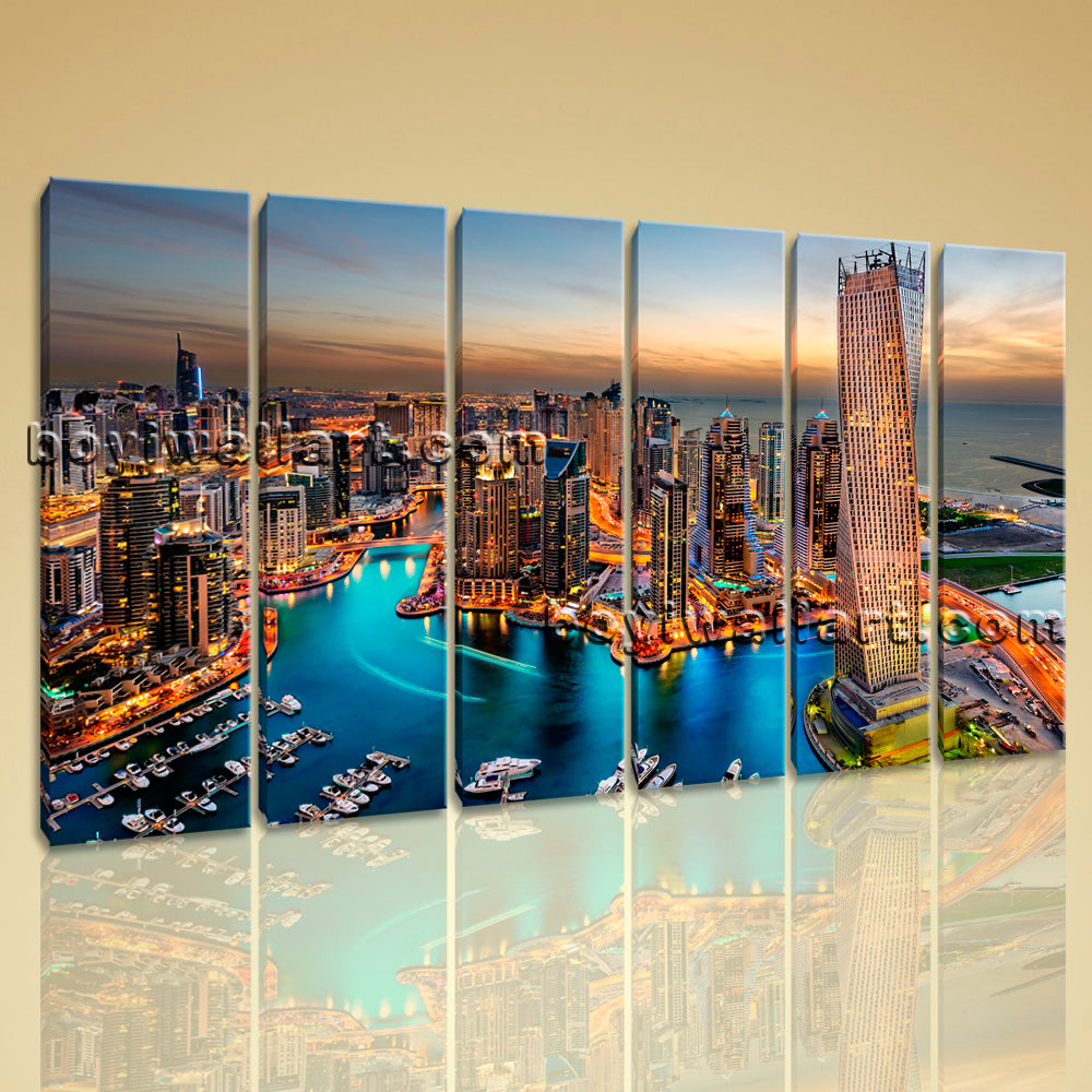 Beautiful Sunset Urban Cityscape Wall Art Canvas Print HD Dubai City Landscape