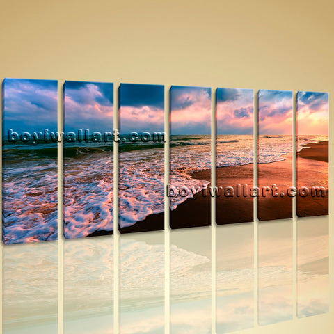 Hot Sell Decorative Wall Art Canvas Print HD Sunset Landscape Sea Wave Peaceful