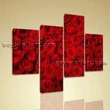 Large Floral Canvas Art Rose Flower Wall Modern Tetraptych Pieces print