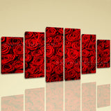 Large Floral Wall Art Rose Flower Modern Dining Room Hexaptych Pieces Print