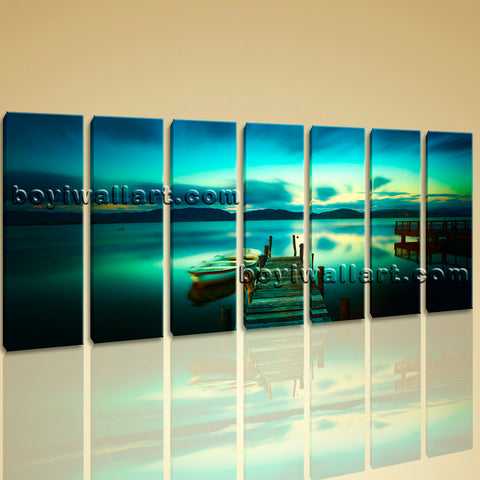 Sunset Glow Landscape Beach Night Scene Contemporary Wall Art Print On Canvas