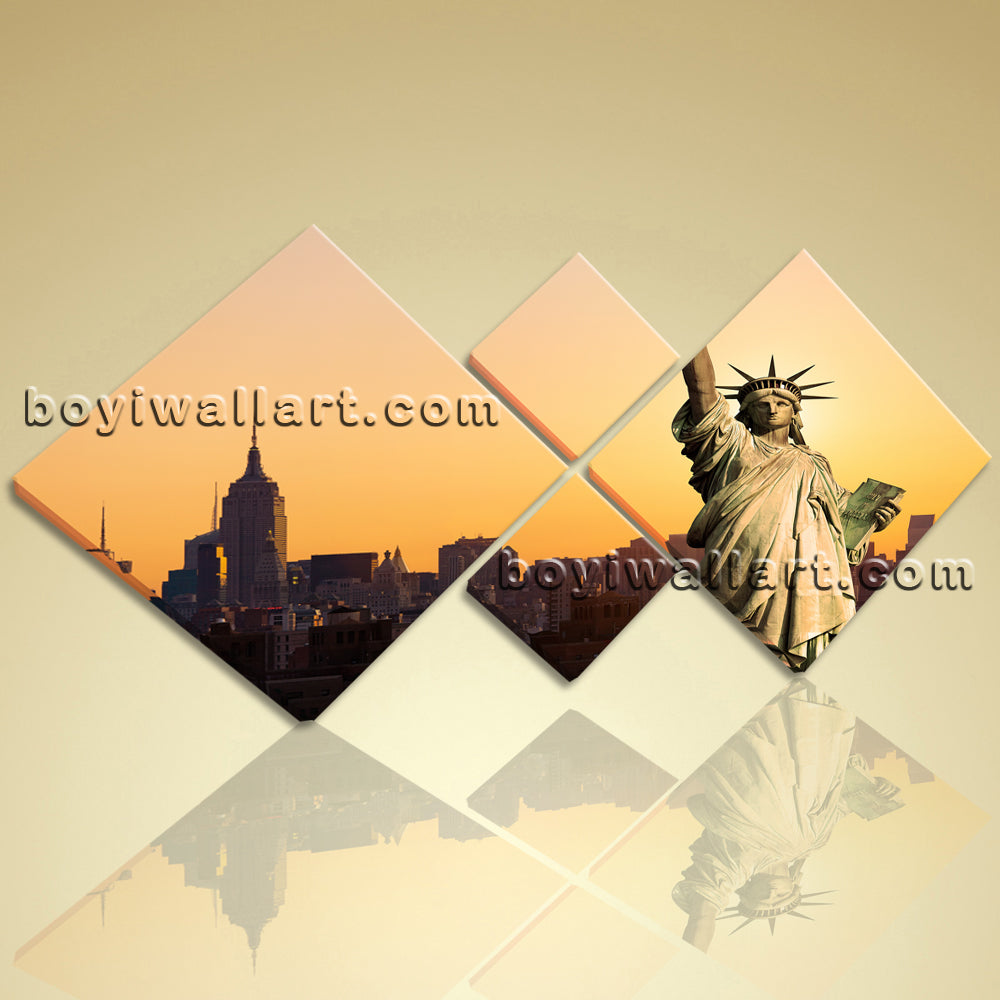 Abstract Landscape New York City HD Print Wall Art On Canvas Statue ...