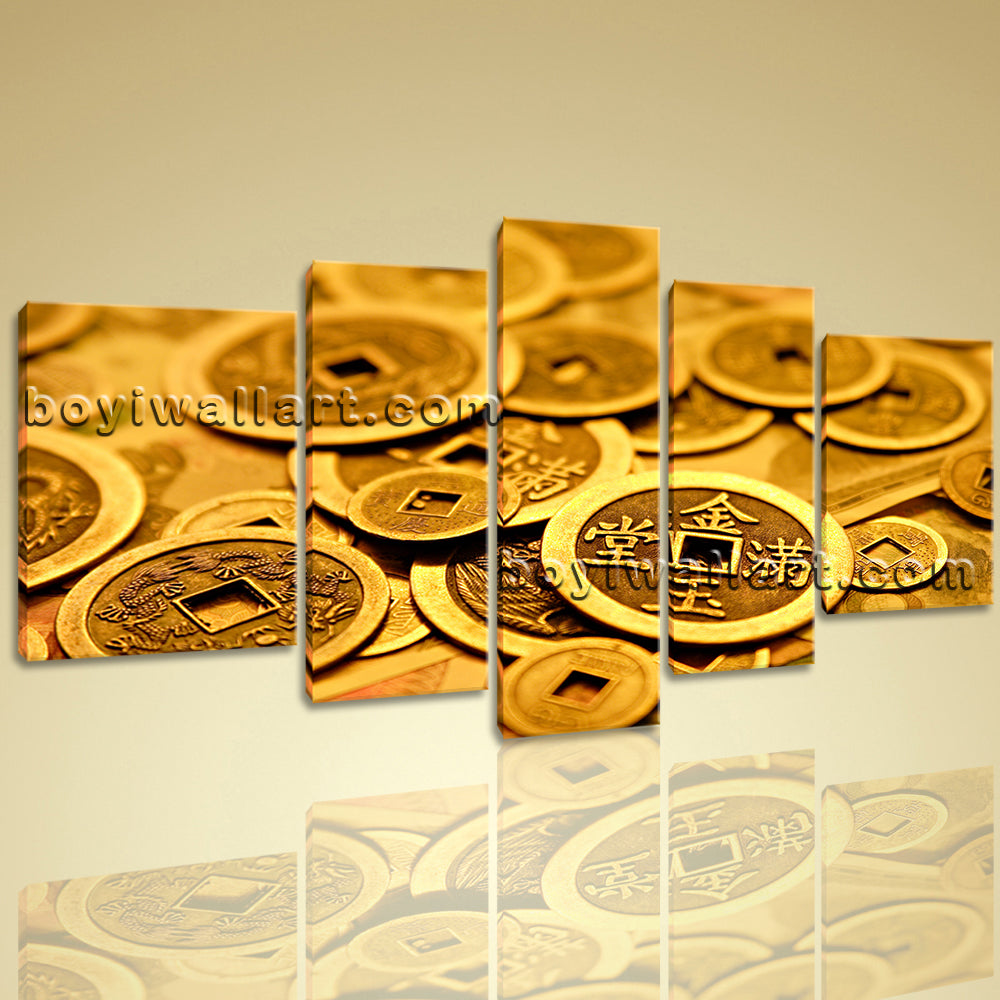 Ancient Coin Feng Shui Painting Abstract Wall Art Print On Canvas ...