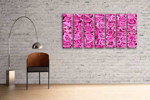Pink Rose Flowers Abstract Floral Painting On Canvas HD Print Mural Contemporary