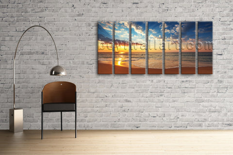 Large Seascape Painting Sunset Glow Beach Abstract Landscape Print Wall Art