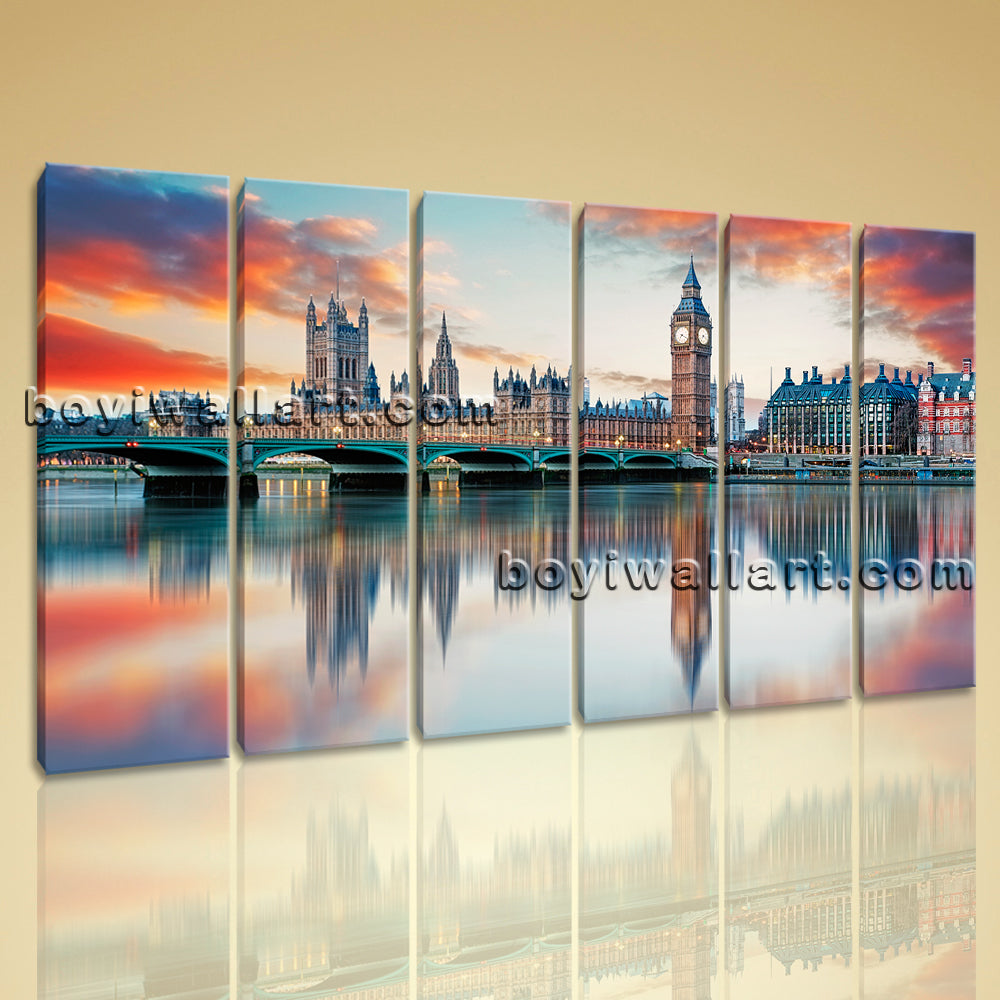 Large Contemporary Urban City Landscape Modern Abstract Canvas Wall Art Framed