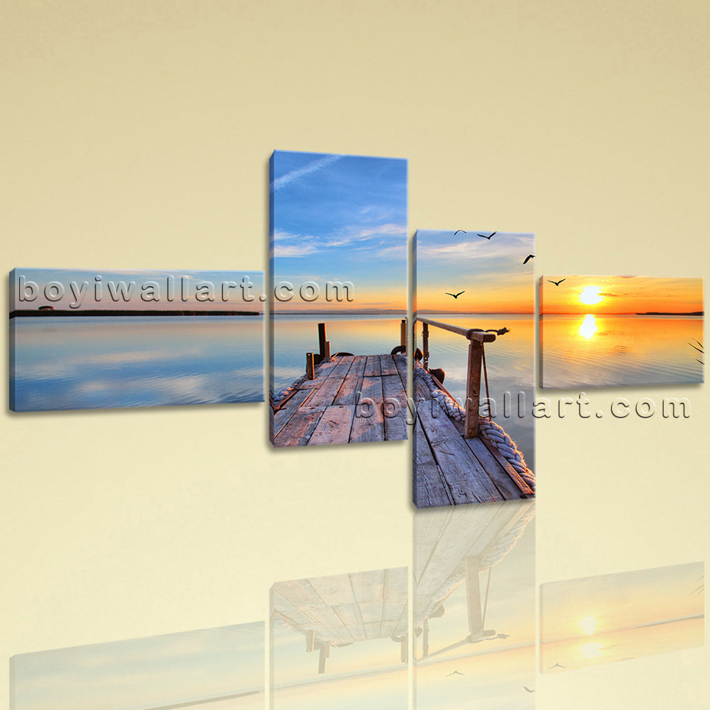 Amazing Sunset Glow Picture HD Print Landscape Large On Canvas Wall Art Modern