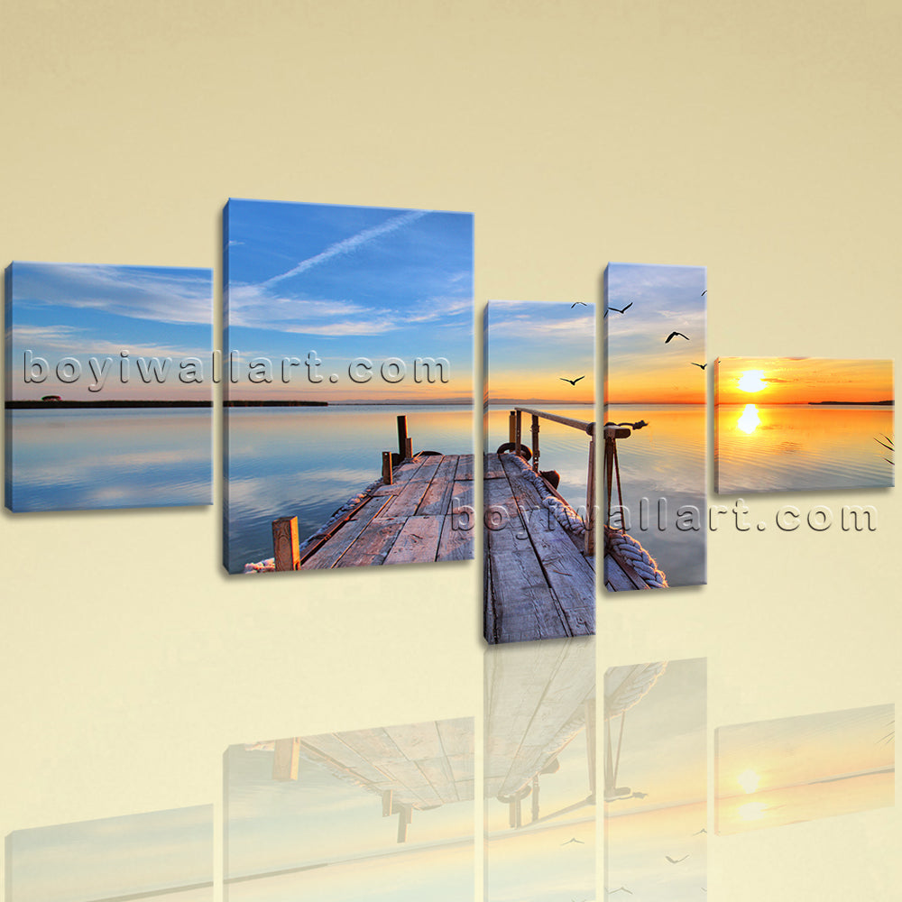 Extra Large Seascape Print Sunset Wall Art Home Decor Bedroom Five Pieces  Canvas