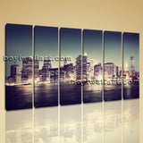 Beautiful Cityscape Night Scene Modern Abstract Wall Art On Canvas Contemporary