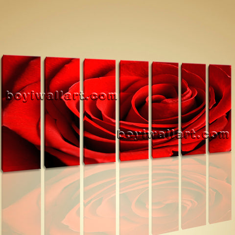 Large Framed Contemporary Abstract Rose Flower Floral Painting Print on Canvas