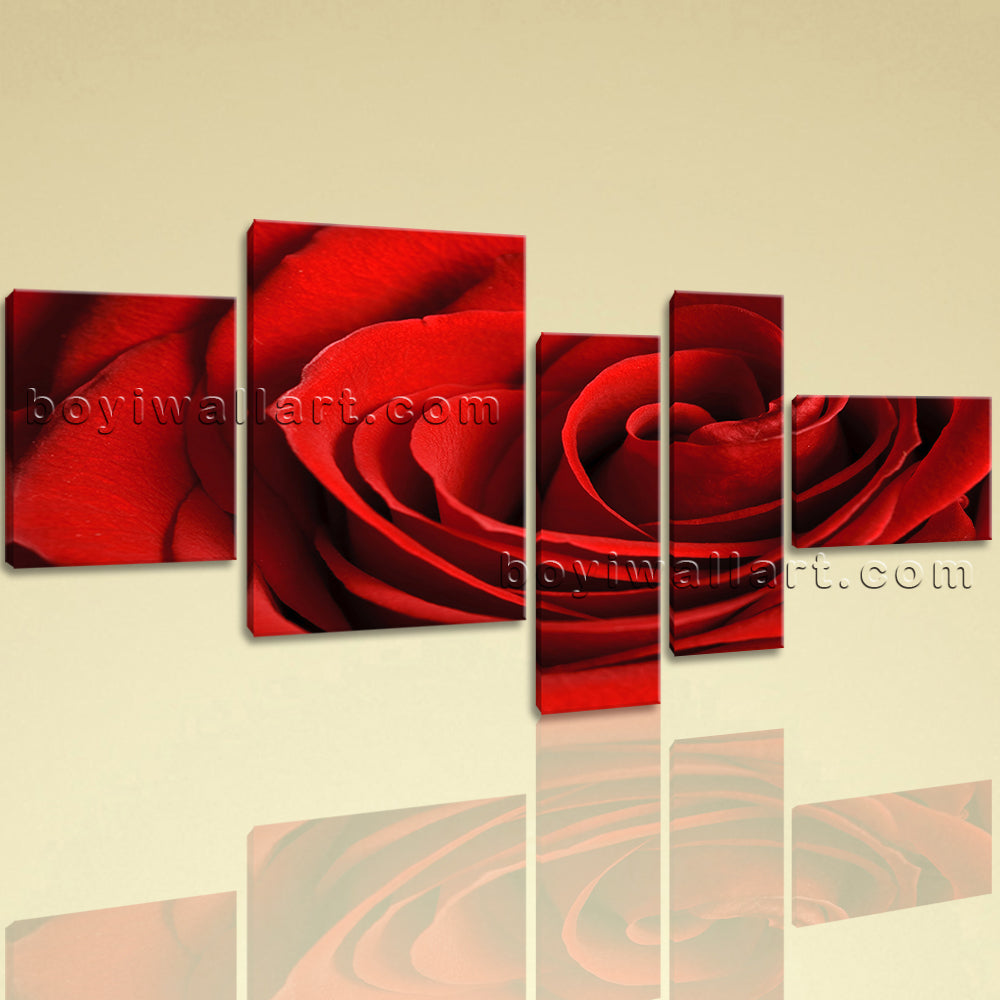 Large Floral Canvas Art Rose Flower Modern On Bedroom Pentaptych Pieces Print
