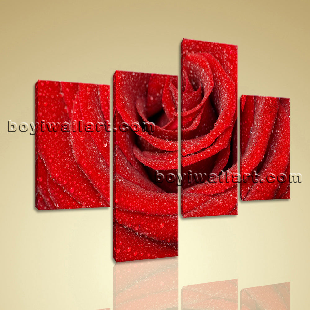 Large Floral Canvas Art Rose Flower Modern Wall Living Room 4 Panels Print