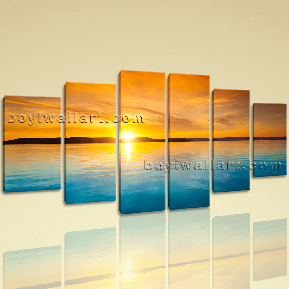 Extra Large Seascape Print Sunset Picture Wall Dining Room Hexaptych ...