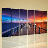 Beautiful Sunset Glow Seascape Sun Shine Beach HD Print On Canvas Home Wall Art