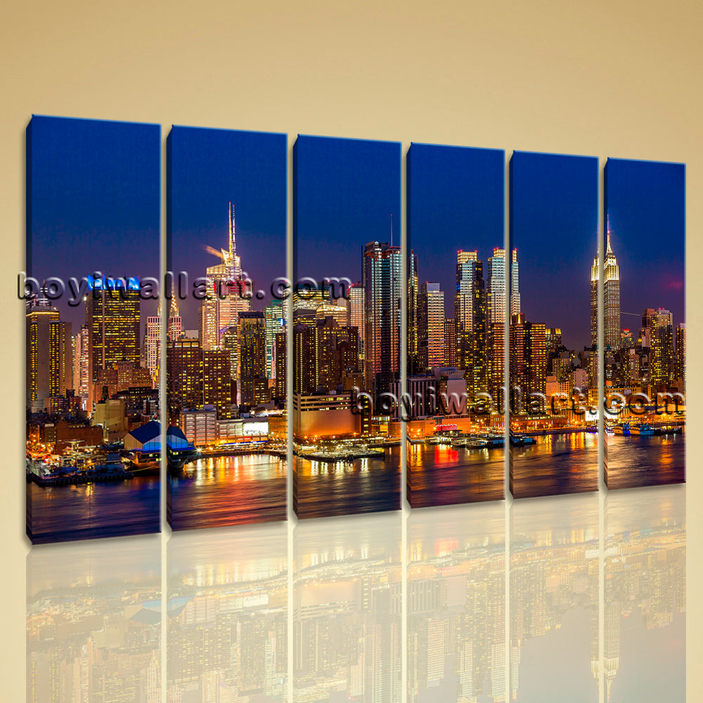 Large Framed Modern Cityscape Print Wall Art On Canvas Night Scene Office Decor
