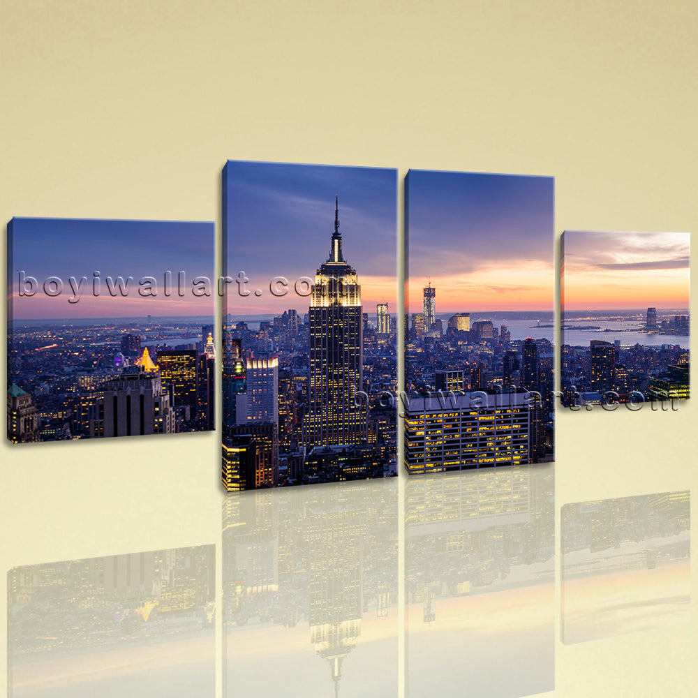 Large Cityscape Wall Art Historic Canvas Dining Room Four Panels print