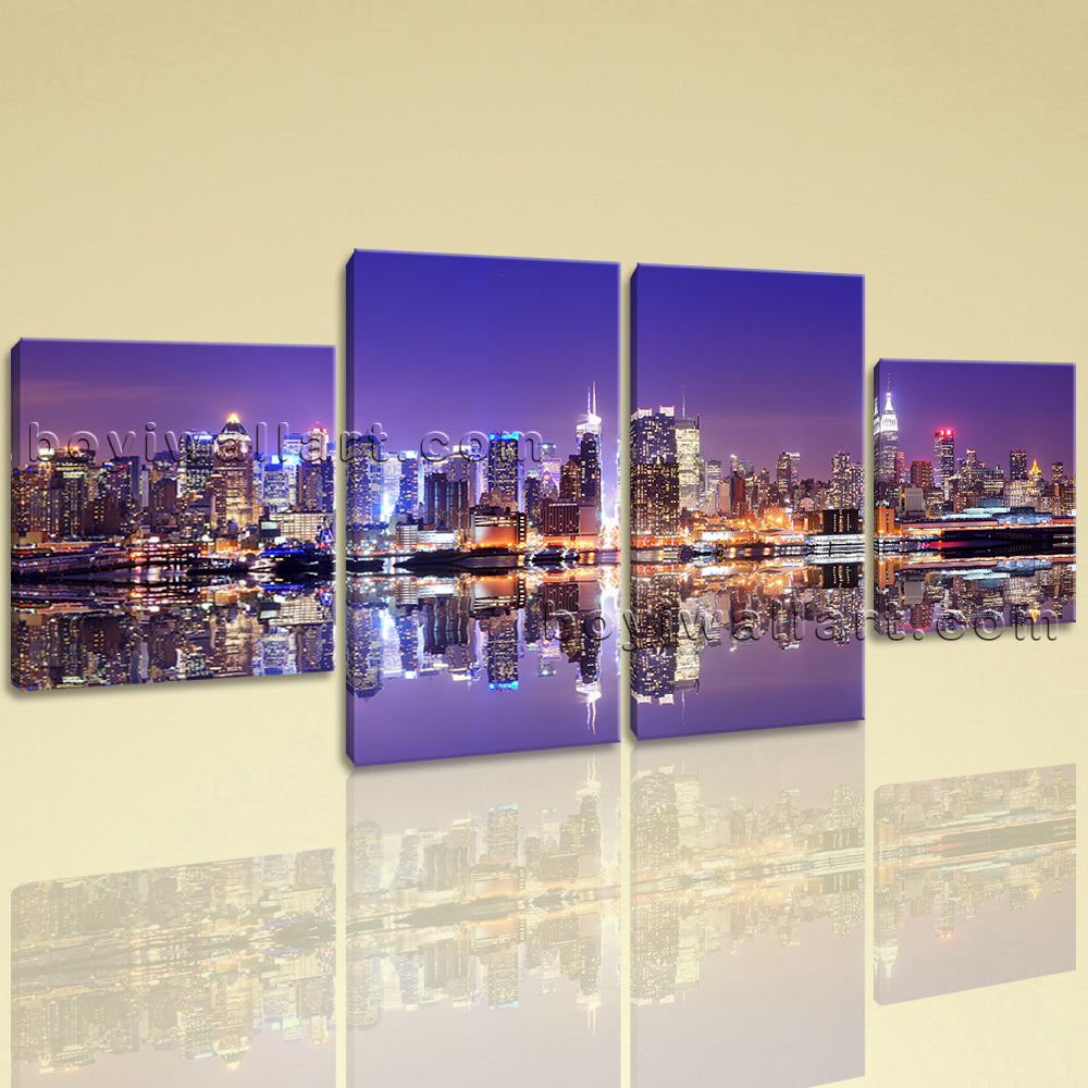 Large Cityscape Wall Art Historic On Canvas Dining Room Four Panels Print