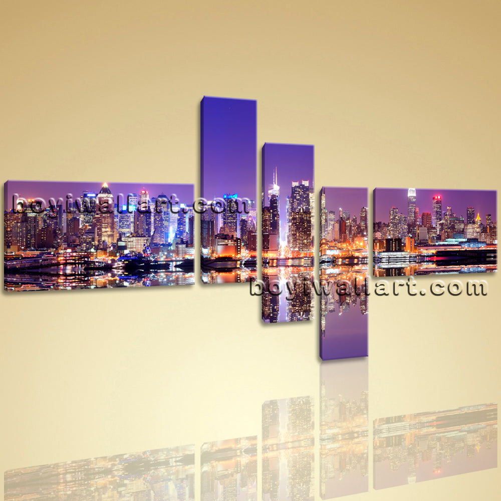 Large Framed Contemporary Abstract Landscape HD Print Urban City Wall Art New