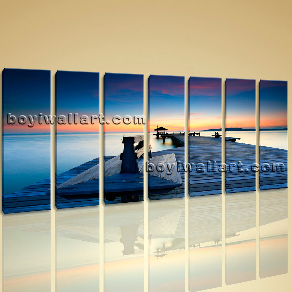 Large Contemporary Wall Art On Canvas HD Print Seascape Beach Sunrise Scene