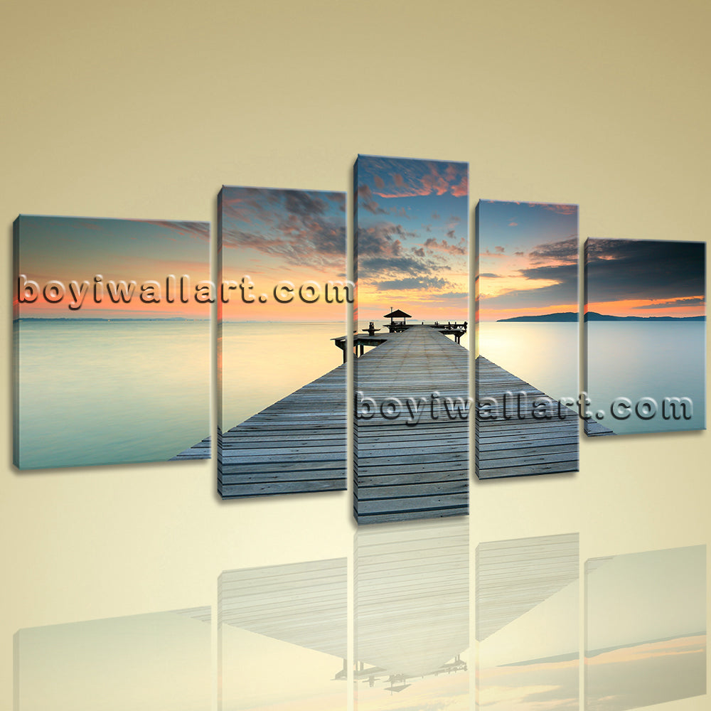 Large Contemporary Wall Art On Canvas Hd Print Seascape Beach Sunset ...