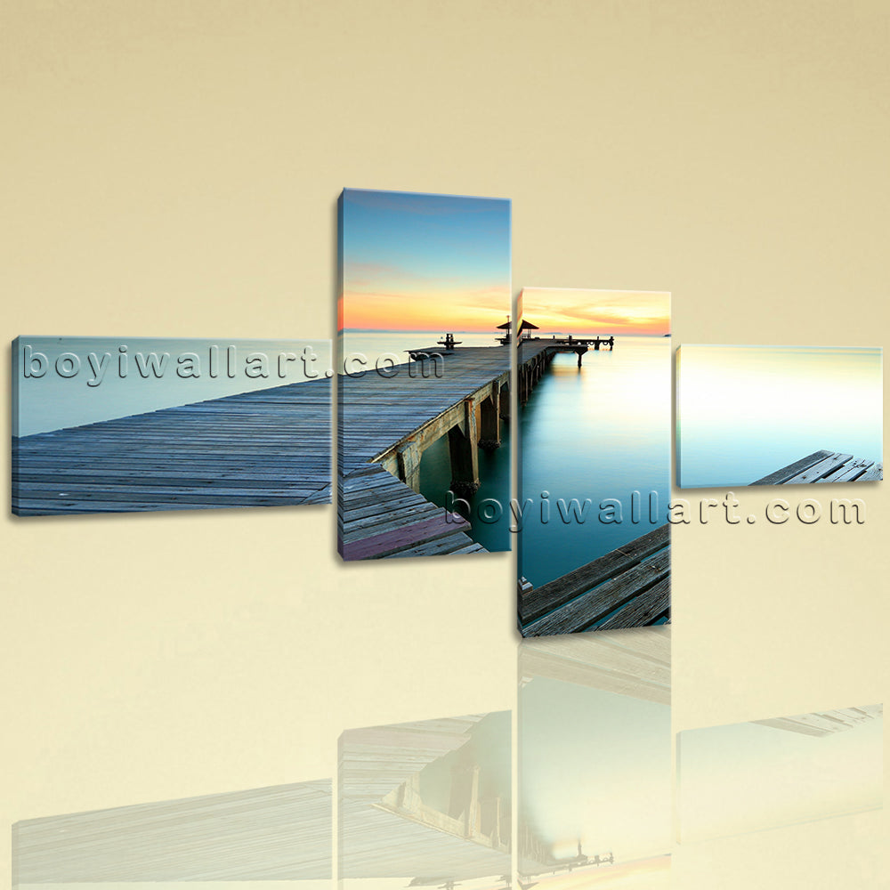 Large Contemporary Wall Art On Canvas HD Giclee Print Seascape Beach Sunset Glow