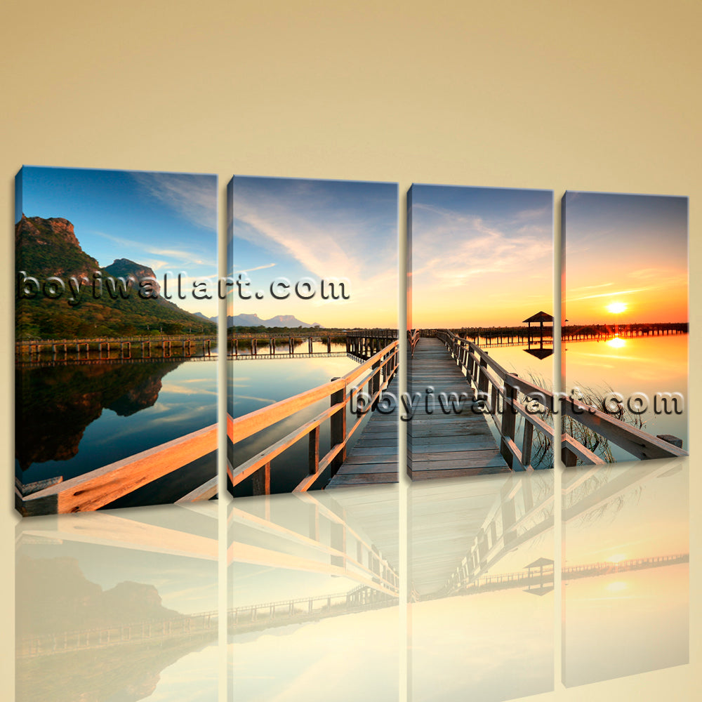 Large Contemporary Wall Art On Canvas HD Print Seascape Beach Sunset Glow