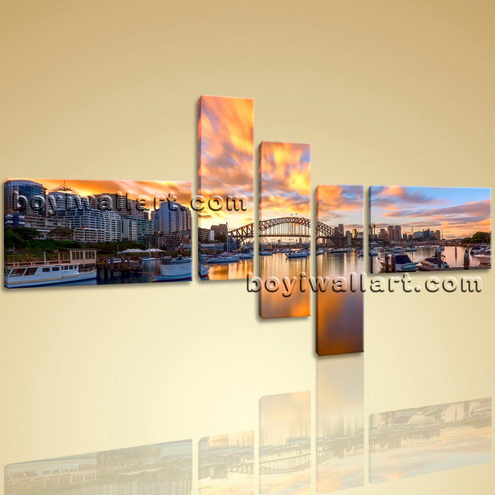 Large Abstract Landscape Painting Print Wall Art Canvas Bridge ...