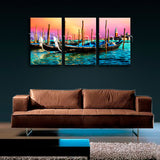 Abstract Seascape Boat Sunset Glow Print Canvas Wall Art for Living Room Decor