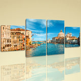 Large Cityscape Hd Print Historic Painting Home Dining Room Tetraptych Panels