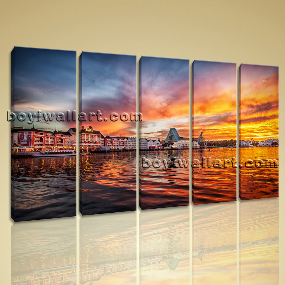 Attractive Sunset Glow HD Picture Print On Canvas Abstract Large Wall Art Mural