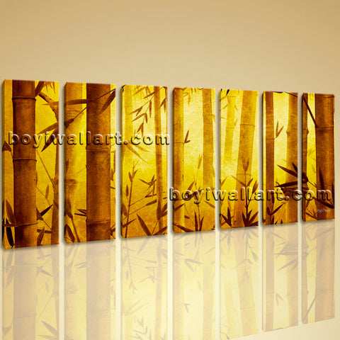 Large Original Abstract Feng Shui Painting Giclee Print Bamboo Zen Art On Canvas