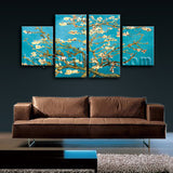 Large Famous Canvas Art Flower Abstract Home Decor Dining Room Four Pieces Print