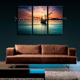 Amazing Sunset Glow Picture Seascape Boat Print Canvas Wall Art Ready to Hang