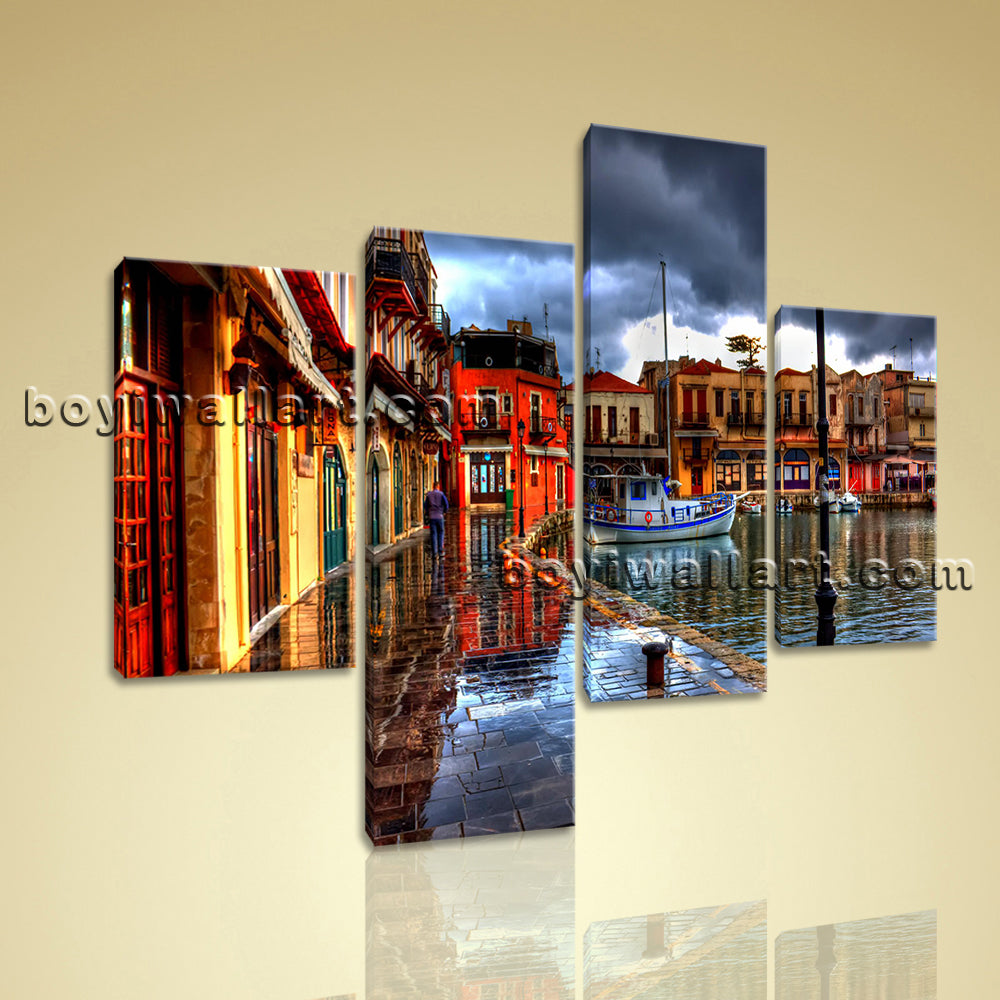 Large Cityscape Painting Sunset Wall Canvas Art Living Room Four Pieces Print
