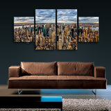 Large Cityscape Hd Print Sunset Home Decor Dining Room Tetraptych Panels Giclee