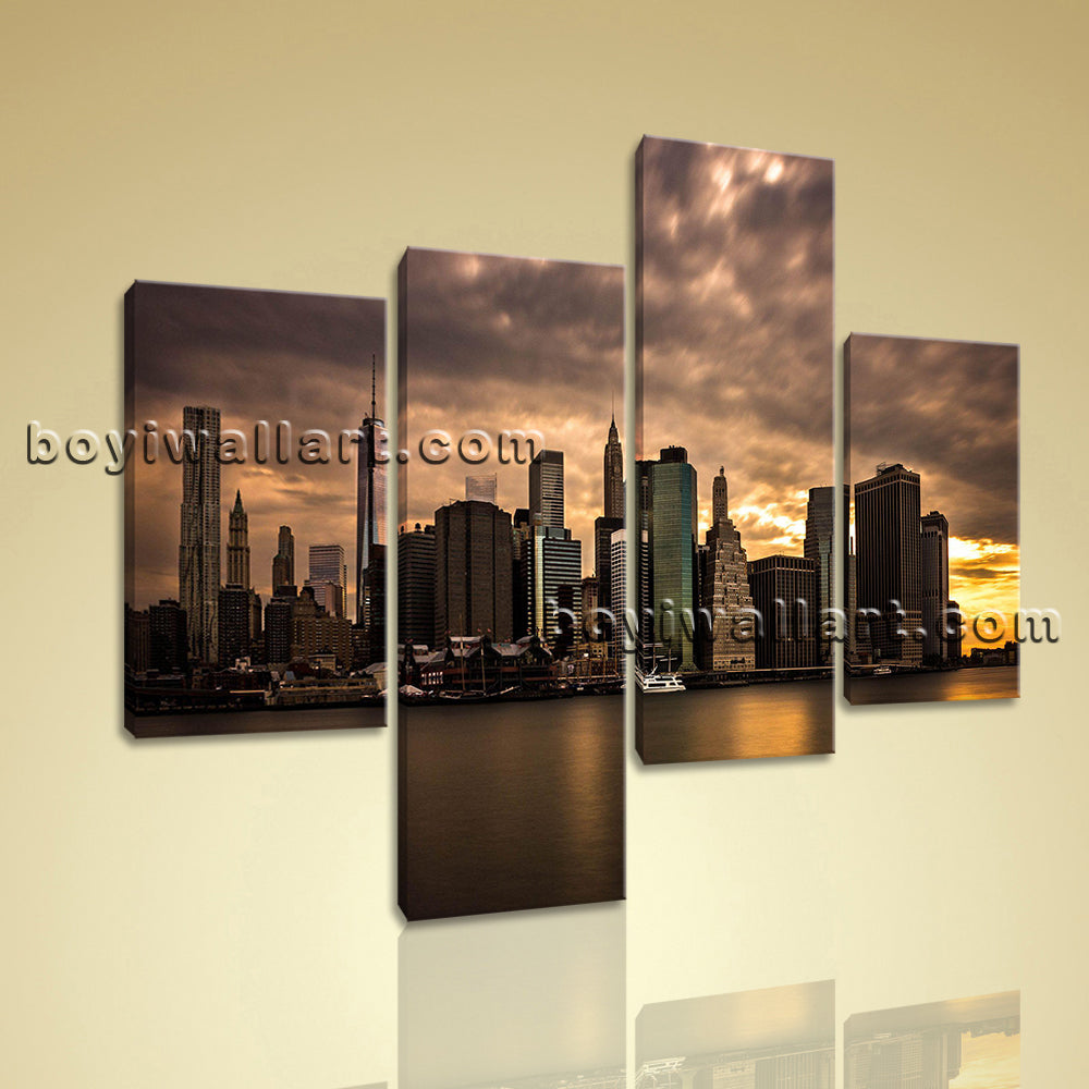Large Cityscape Wall Art Sunset Hd Print On Canvas Living Room Four Pieces