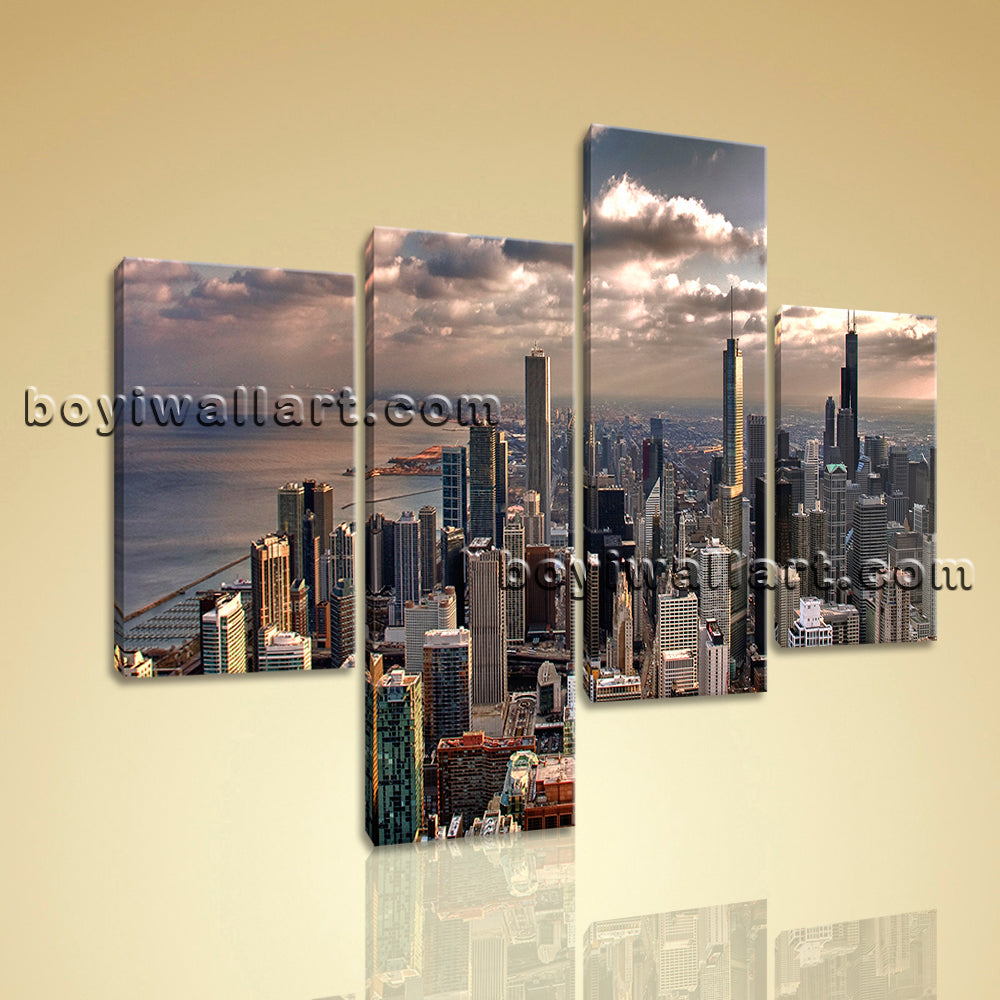 Large Cityscape Print Sunset Hd Painting Living Room Tetraptych Pieces Canvas